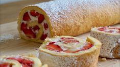 Erdbeerrolle 🍓 / das wohl schnellste und einfachste Rezept / Biskuitrolle Grundrezept - YouTube Muffins, Deserts, Cooking, Creme, Youtube, Swiss Roll Cakes, Strawberries, New Food, Kitchen