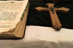 Free Stock Photo of Latin Bible & Crucifix