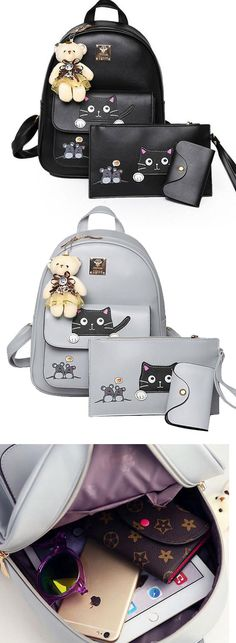 Cute Kitty Bag Gift Bear Doll Mouse Splicing Cat PU Kitty Backpack Cartoon School Backpack for big sale! #cartoon #school #kitty #cat #kitten #backpack #bag