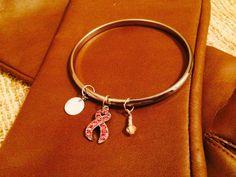 Pink Ribbon Bangle Bracelet Silver Tone Pink by NeutralNellies
