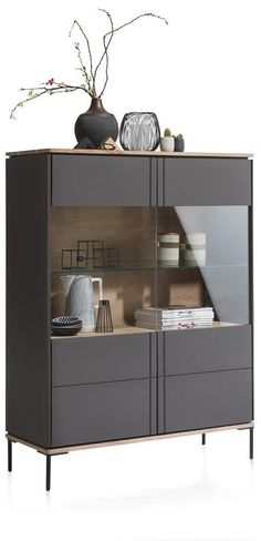 Lanai-vitrinekast smal 2-glasdeuren - 110 cm (+ led)3 Cabinet Furniture, Cool Furniture, Furniture Design, Living Room Interior, Living Room Decor, Living Spaces, Modern Tv Unit Designs, Kitchen Bar Design, House Gate Design