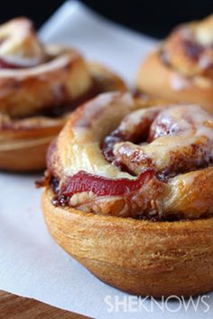 Bacon-stuffed jumbo cinnamon rolls recipe | for nutritional and exercise information visit: www.getfitglobal.com