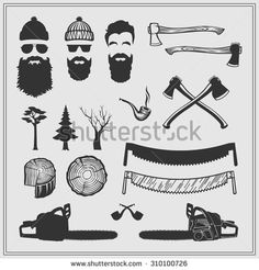 Lumberjack characters with tools and attributes set: chainsaws, saws, axes, stamps and trees. The silhouette vector monochrome design.