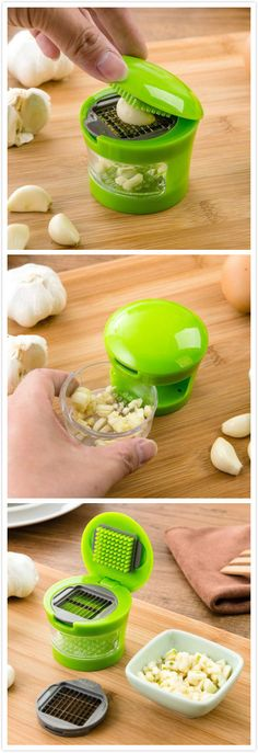 Portable Press Style Manual Garlic Chopper More Board: Kitchen Gadgets and Gizmos Home Gadgets, Kitchen Tools And Gadgets, Cooking Gadgets, Kitchen Supplies, Cooking Tools, Kitchen Items, Kitchen Utensils, Kitchen Appliances, Spy Gadgets