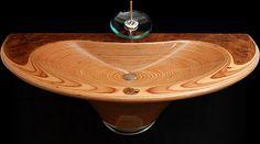 ovale form rundes designer waschbecken holz