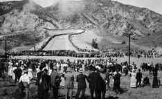 (November 5, 1913)* - The water gates are finally opened and 30,000 people watch in amazement as the Los Angeles Aqueduct water starts to flow down the cascades into the San Fernando Valley.