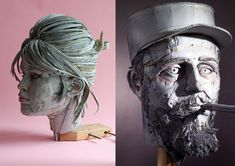 Artist Scott Fife constructs the heads of pop culture icons, historical figures, and animals using archival cardboard, drywall screws, and glue. I like the physical nature of building the sculpture–it seems very old-fashioned and traditional. The idea of the material itself–it's friendly, flexible,