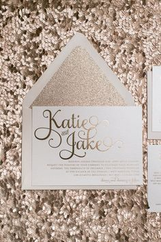 Rose gold wedding invitations! Rose gold foil, Rose gold glitter, and blush envelopes! #letterpress #foilstamping