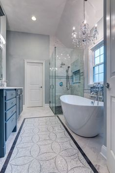 This bathroom is simply amazing. The colors, details in tiles, glass shower and the modern bath tub is so inviting.