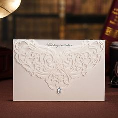 Floral Cut-out Wedding Invitation With Rhinestone - Set of 50 (More Colors) – USD $ 64.99