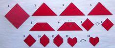 Für das Herz, das Symbol der innigen Liebe und Zuneigung, benötigt ihr folgends Material: - Faltblatt in rot in der Größe 10 cm x 10 cm bzw. 15 cm x 15 cm (ihr könnt es auch selbst zuschneid...