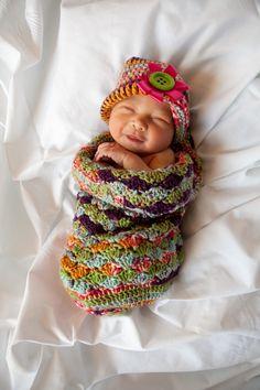 Crochet baby cocoon/hat.