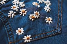 [New] The 10 Best Home Decor Today (with Pictures) - Embroidered jeans/jackets what an amazing response CUSTOMISABLE! Hand Embroidery Art, Embroidery On Clothes, Simple Embroidery, Embroidered Clothes, Jean Embroidery, Diy Embroidered Jean Jacket, Simple Flower Embroidery Designs, Diy Embroidery Flowers, Embroidered Flowers