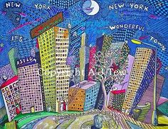 """T3W UNLIST3D - Original Painting - Acrylic and Ink- 31""""x 24"""" - 'New York' • £0.99"""
