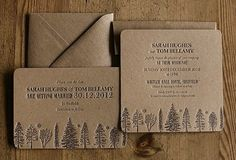 LOVE... These letterpress invites would be perfect for a rustic wedding in the woods. By Artcadia.