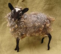 Needle felted sheep with gray curly woolready to ship by Ainigmati, $130.00