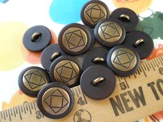 """Steampunk Brass color Geometric Buttons 13 metal shank style 32L (13/16"""" 20MM) brass bronze tone brown plastic jacket by kabooco on Etsy"""