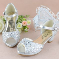 Silver Beaded High Heel Flower Girl Girls Pageant Party Sandals Shoes SKU-133582