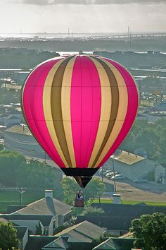 pink hot air balloon...Infer what you would be able to see if you were in the hot air balloon!