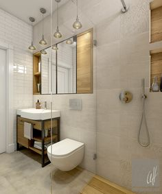 Dom w Milanówku Bathroom Lighting, Vanity, Mirror, House, Furniture, Home Decor, Bath, Bathroom Light Fittings