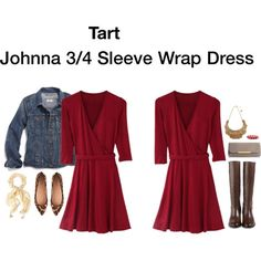 Easy Fashion and a power color for work. LOVE! Stitch Fix - Johnna 3/4 Sleeve Wrap Dress <3 red, wrap dress, 3/4 sleeves <3 LOVE