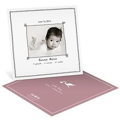 Let the news of your special delivery make its way into the homes of loved ones by way of the stork! The front side of these baby girl birth announcements features your baby's photo, framed by whimsical hand-drawn borders with little hearts at the corners.