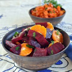 Moroccan Beet Salad with Tangerines and Cinnamon- very different.....but I'd like to try, just to see:)