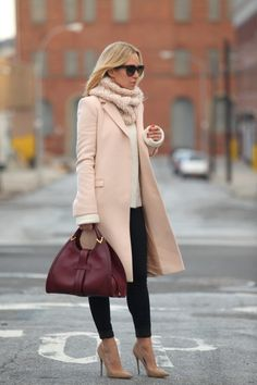 Love the combination of pale pink and nude pumps! Combined with the oxblood colored handbag- this outfit is complete!