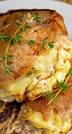 Cheese & Potato Stuffed Pork Chops