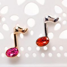 Crystal Musical Note Studs