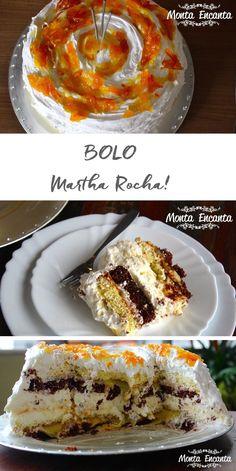 Bolo Martha Rocha, camada de pão de ló preto e branco, entre eles baba de moça, chantilly fresco e um disco de suspiro crocante, envolto por chantilly.