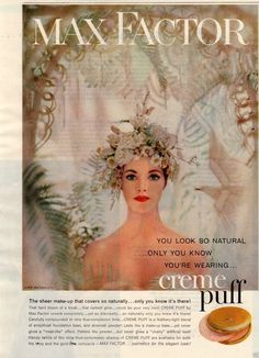 """1958 Vintage Print Ad Max Factor Creme Puff Makeup """"So Natural Only You Know"""" 