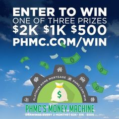"Enter the ""PHMC's Money Machine Sweepstakes"". There are 3 prize winners every 2 months. For your chance to win, enter here: bit.ly/phmcWIN"