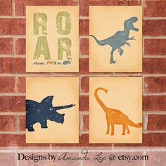 Items similar to Dinosaur Art Print - 8x10 - Designer Set 3 on Etsy