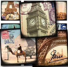 "Brand New Digital collage sheet ""World Tour."" Forty 1 x 1 inch squares -- France Egypt England Italy -- piddix #printables no. 837."