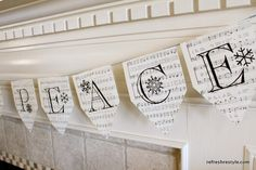 Great idea for the mantle. Hymnal Banner