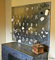 Love this DIY! The Shabby Cottage Home: Pottery Barn Inspired Oversized Galvanized Calendar