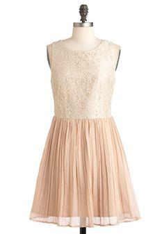 Chiffon Occasion Dress by Jack by BB Dakota - Lace, Pleats, Wedding, Twofer, Sleeveless, Fairytale, Chiffon, Mid-length, Pink, Party, Tan / Cream