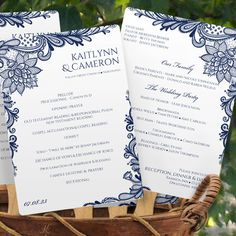 Ornate Lace (Navy) Program Fan Template | Instant Download – Karma K. Weddings