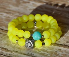 Bright Neon Yellow Beaded Bracelets / Stacked Bead Bracelets / Set of 2 via Etsy