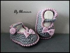 Nouvelle Collection : chaussons ballerines bébé (0-3 mois) crochetés main Grises et Roses : Mode Bébé par mamountricote