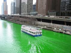 Chicago River colored a beautiful emerald green in celebration of St. Patrick's Day! March 15th at 10:45am. Come and see!