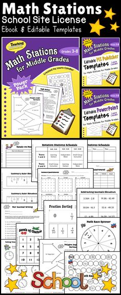 Math Stations School Site License - Includes Laura Candler's best-selling Math Stations for Middle Grades (grades 3-6) ebook plus two types of editable templates for customizing the games with your own math content. Purchase orders accepted. $