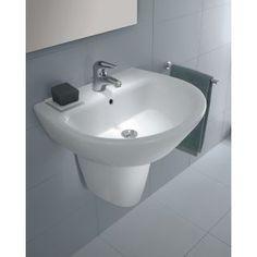 Bissonnet 28432 White Universal Jazz Semi-Pedestal Only - Less Sink Floating Bathroom Sink, Trough Sink Bathroom, Vanity Sink, Sinks, Wall Mounted Sink, Pedestal Sink, Bath Remodel, Jazz, Ceramics