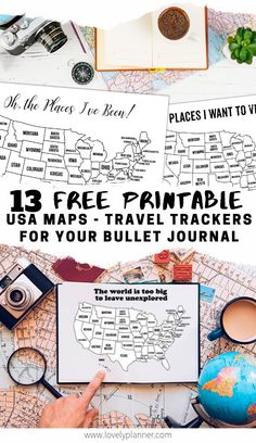 13 Free Printable USA travel maps - United States coloring pages to add in your bullet journal, travel notebook or planner. 13 Free Printable USA travel maps - United States coloring pages to add in your bullet journal, travel notebook or planner. Bullet Journal Voyage, Bullet Journal Travel, Kids Travel Journal, Printable Maps, Free Printables, Printable Planner, Cinque Terre, Usa Travel Map, Solo Travel