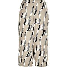 Beige abstract print culottes £35 #ImWearingRI #RiverIsland