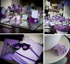 """Purple Bridal Shower Ideas, look it even as a """"M"""" in one of the pictures!"""