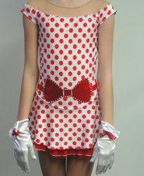 Sk8 Gr8 Designs, custom vintage inspired polka dot figure skating dress www.sk8gr8designs.com