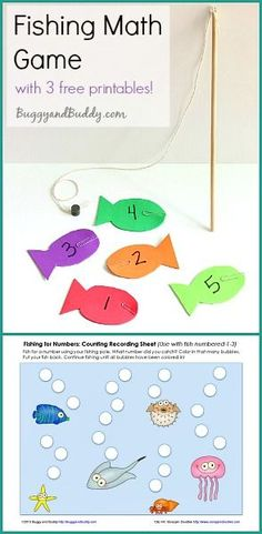 Magnetic Fishing Math Game for Kids (with 3 FREE printables!) ~ BuggyandBuddy.com