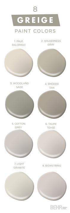 "You can never have too much of a good thing with this collection of classic neutral paint colors from BEHR. Embrace ""Greige,"" a mixture of gray and beige, in your home and see what a fresh coat of paint can do for you. The experts at BEHR can help you cho Greige Paint Colors, Wall Colors, House Colors, Paint Colours, Behr Colors, Bher Paint Colors, Griege Paint, Hallway Paint Colors, Rustic Paint Colors"